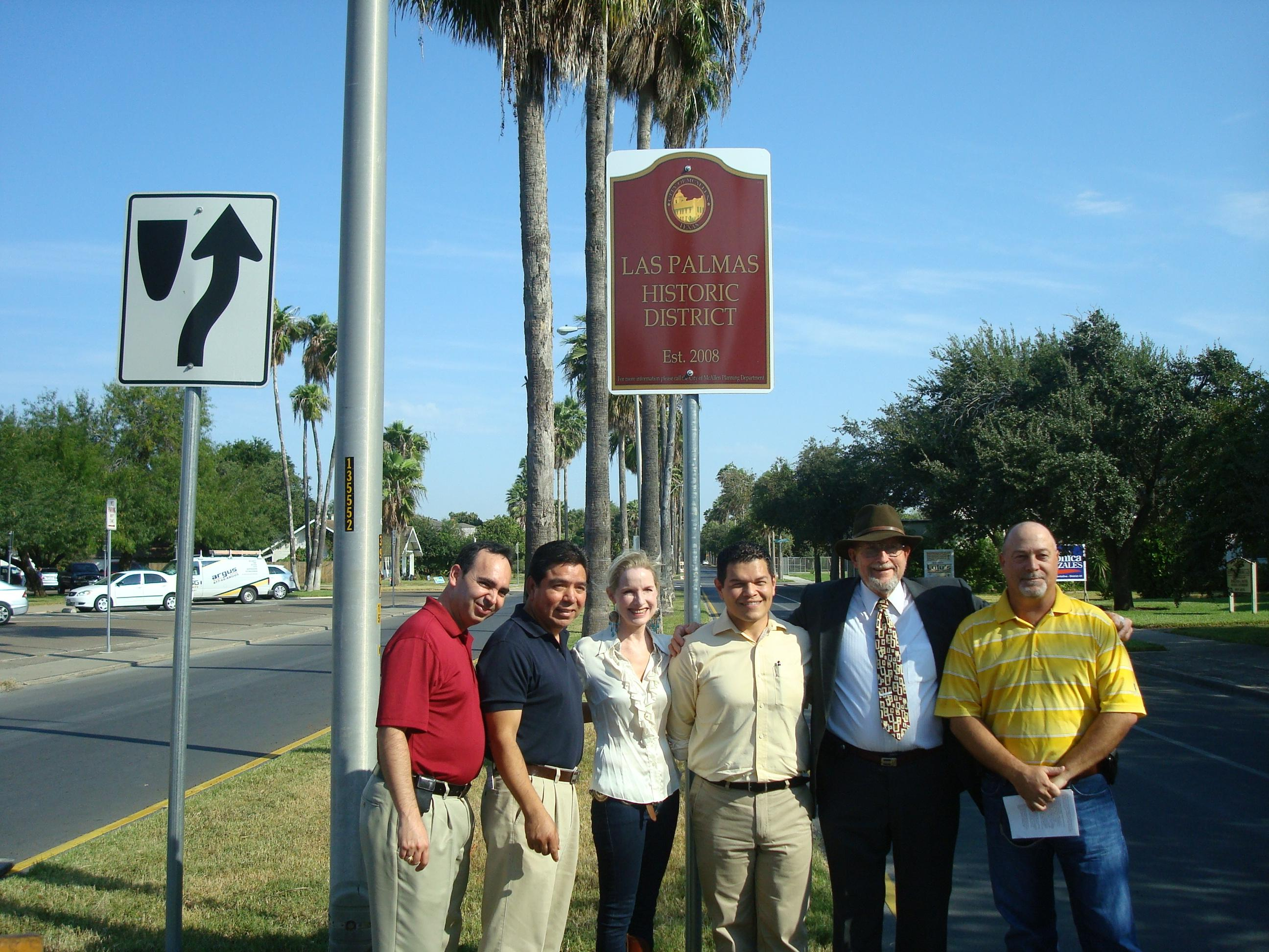 Unveiling of sign announcing the Las Palmas Historic District